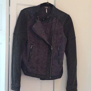 Free People flower-pattern moto jacket